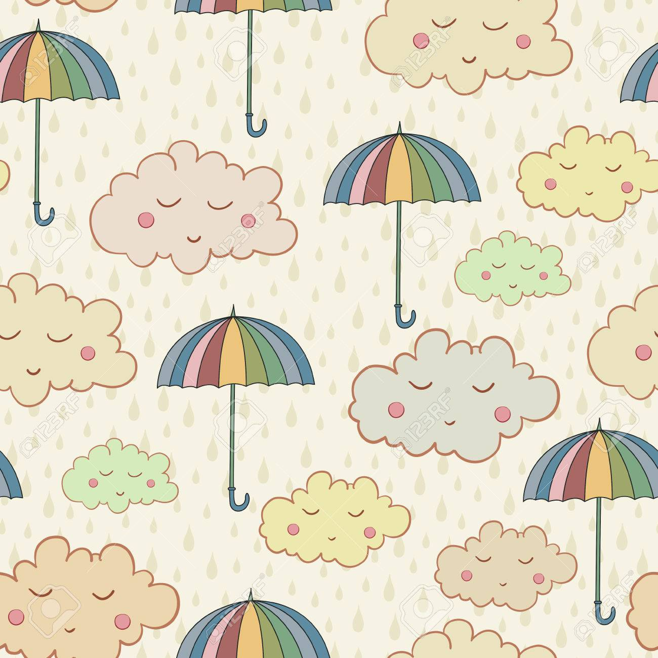 Seamless Pattern With Cute Sleeping Clouds Umbrellas And Rain Weather Can Be Used For Wallpaper