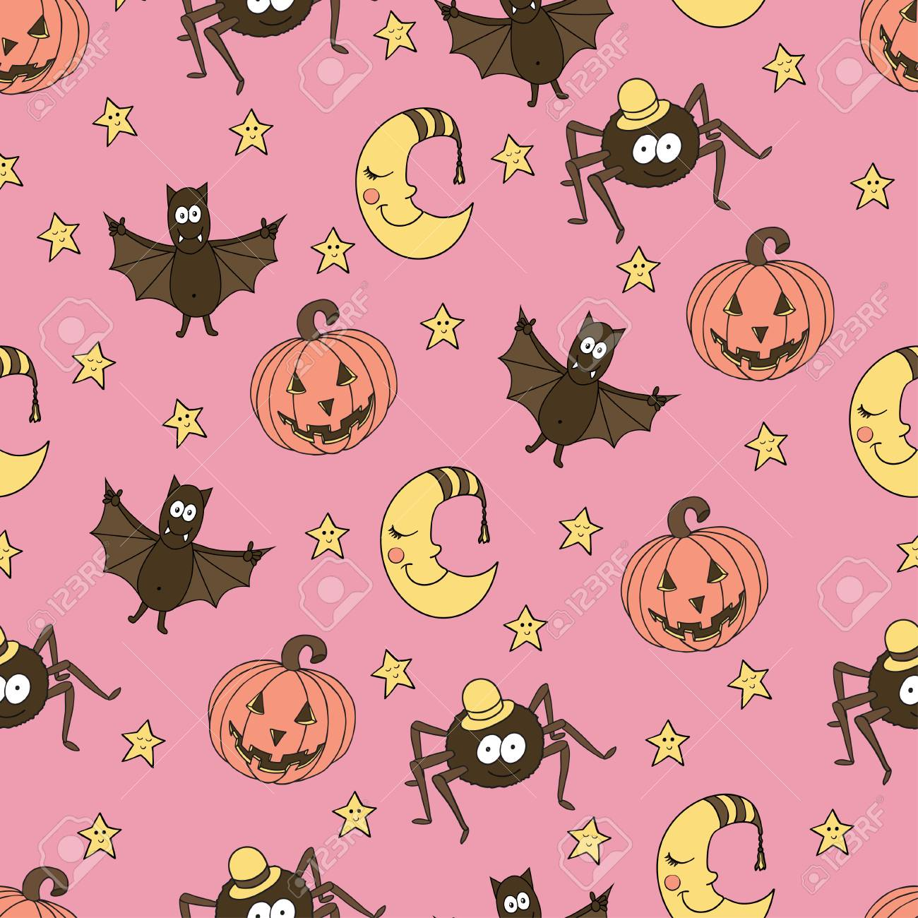 Fantastic Unusual Seamless Halloween Pattern With Pumpkins Bats Spiders Moons And Stars