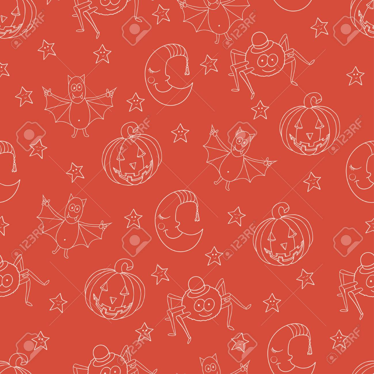Seamless Halloween Pattern With Cartoon Bat Moon Star Pumpkina