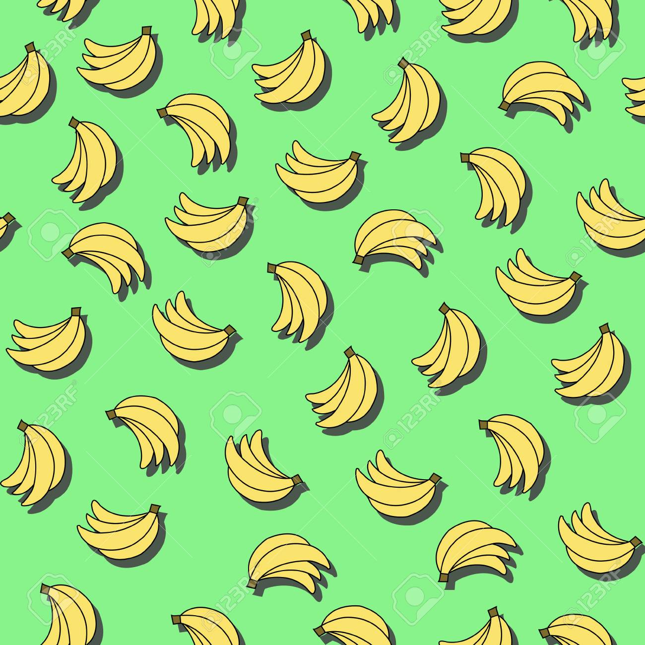 Seamless Pattern With Bananas On Green Background Can Be Used Royalty Free Cliparts Vectors And Stock Illustration Image 84802090