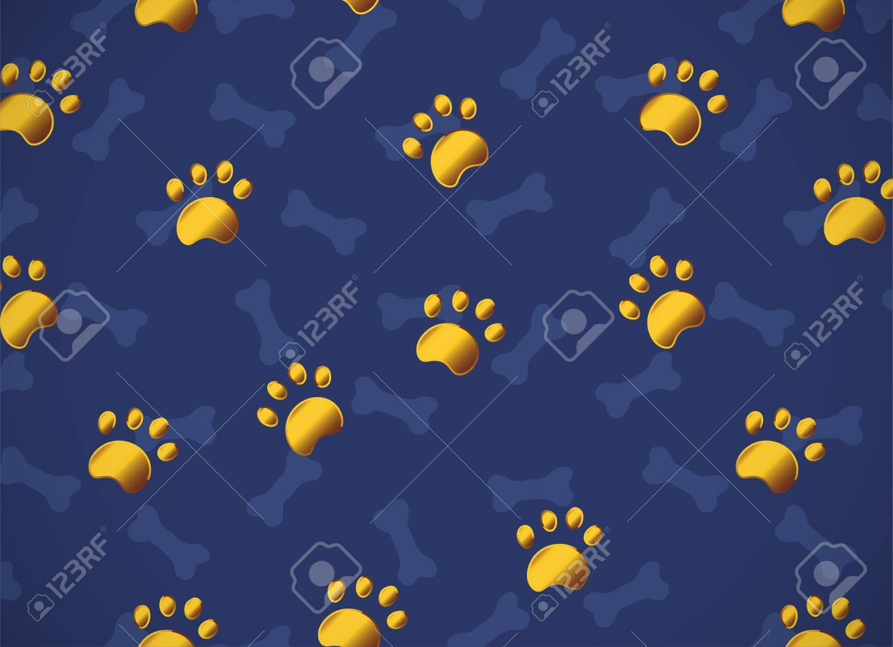 Pattern With Gold Or Yellow Metallic Paws On Dark Blue Background Bones