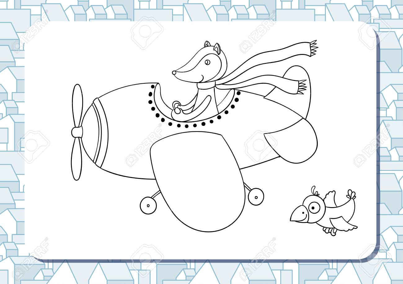 Page Of Coloring Book With Contour Cartoon Illustration Cute