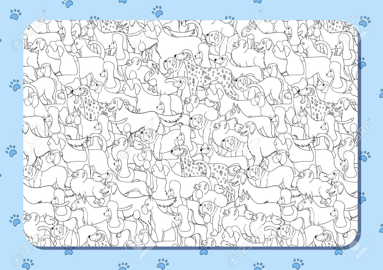 Coloring Book With Cute Cartoon Dogs Different Breeds Background
