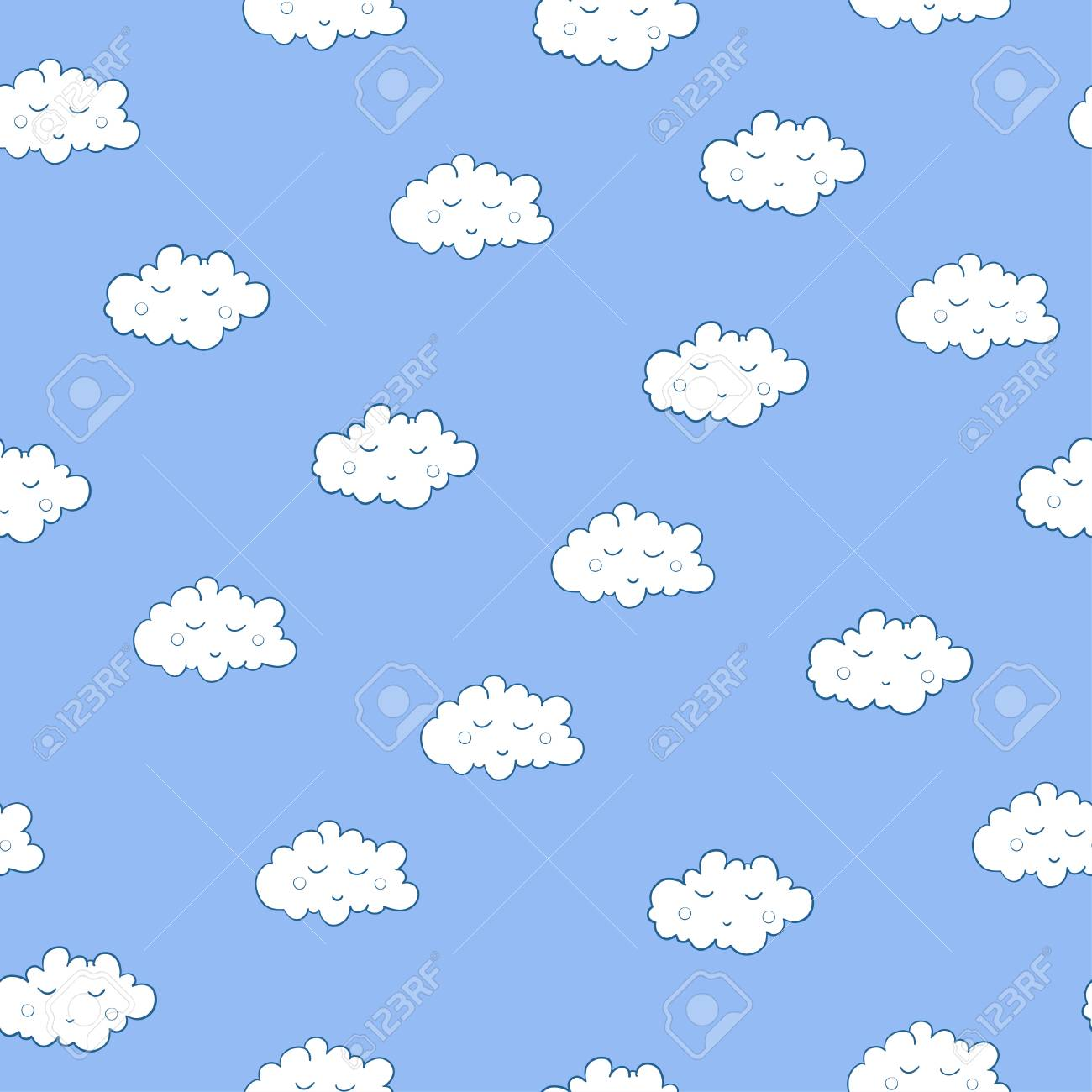 Unusual Seamless Pattern With Cute Sleeping Clouds Good Night Royalty Free Cliparts Vectors And Stock Illustration Image 103227074