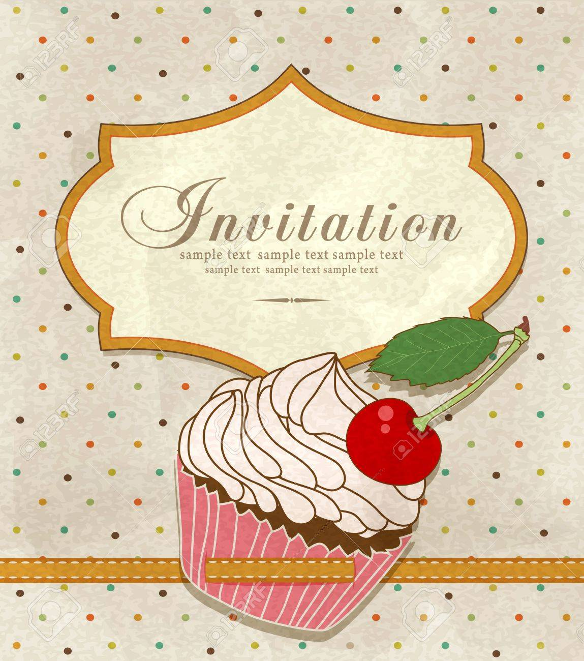 Vector Vintage Greeting Card With A Birthday Cake Royalty Free