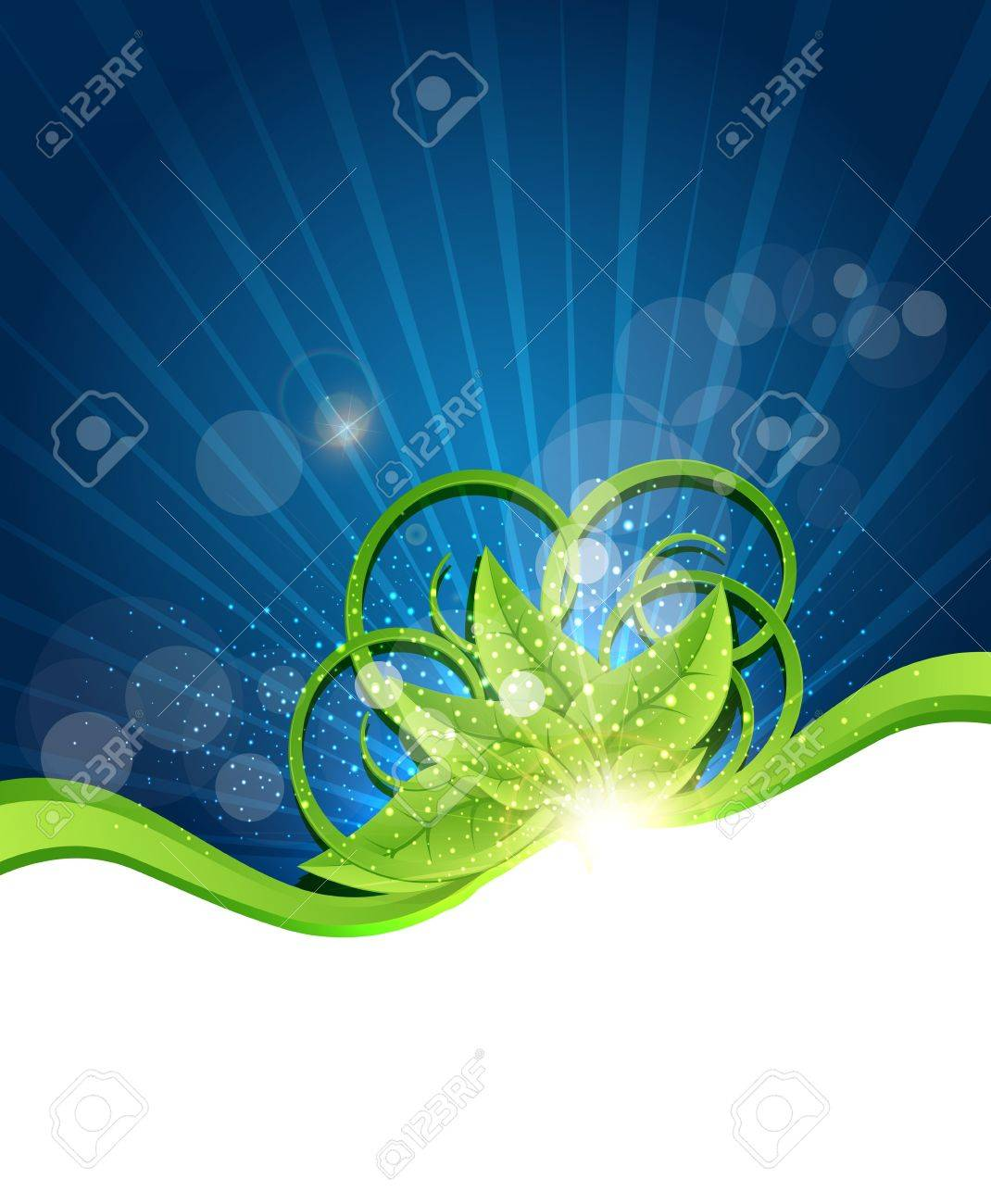 vector abstract background with green leaves Stock Vector - 16420557