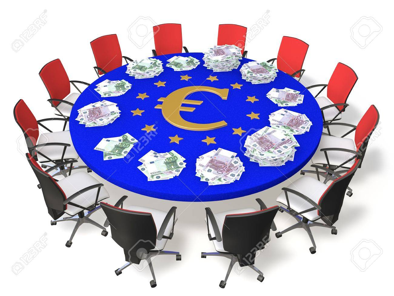 Chairs Around The Table With The Symbol Of The Euro And Banknotes