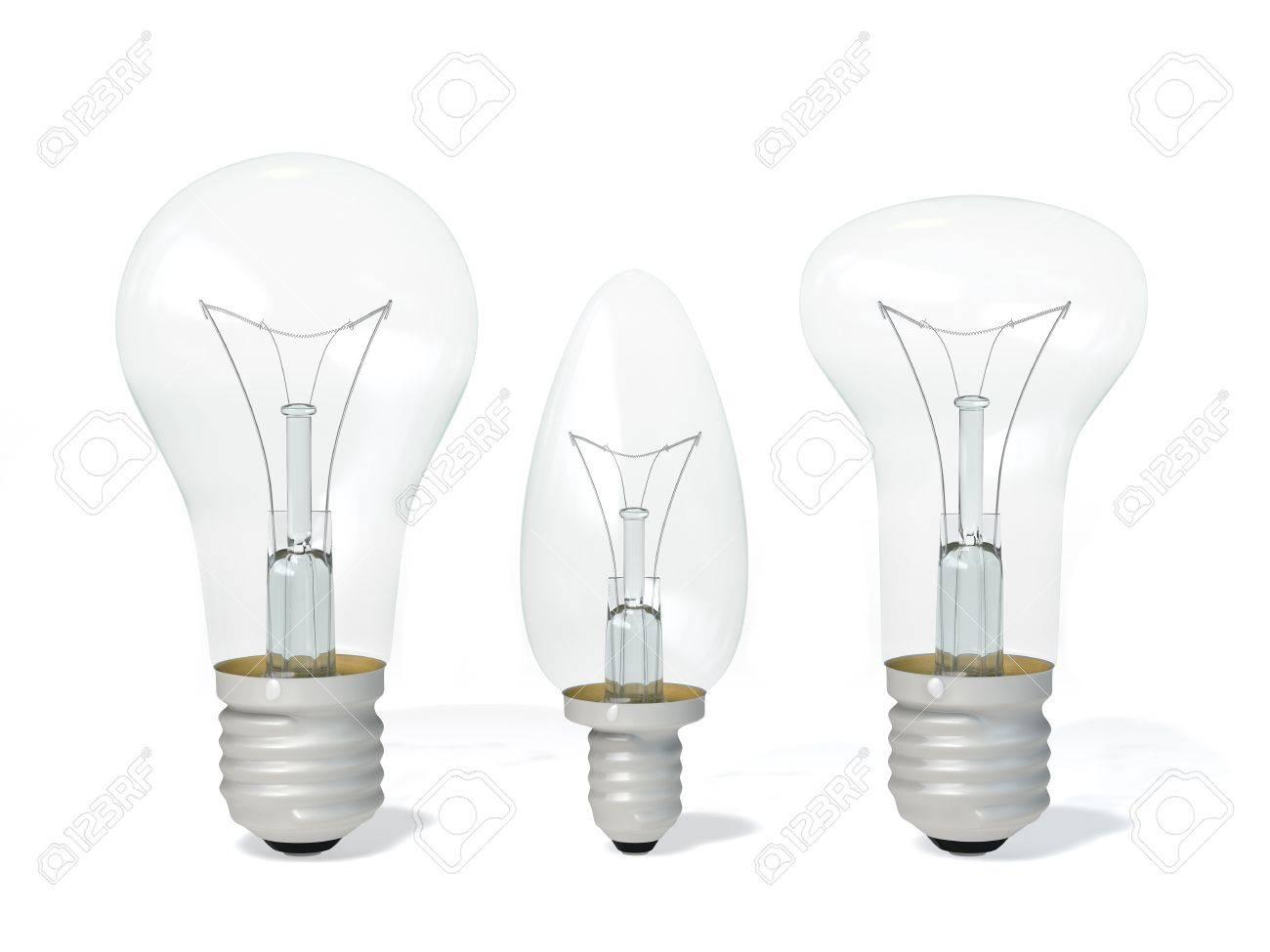 Le lampade ad incandescenza è su uno sfondo bianco foto royalty