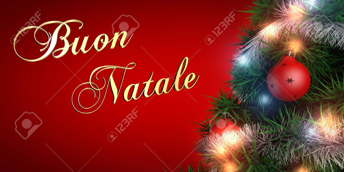 merry christmas written in italian with christmas tree and decorations stock photo 17332325