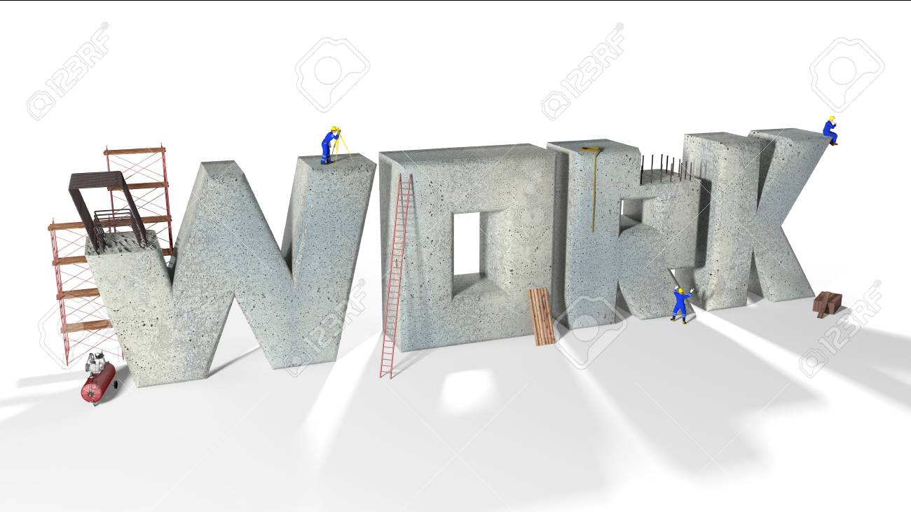 Written work built by various workers and various equipment Stock Photo - 17332344