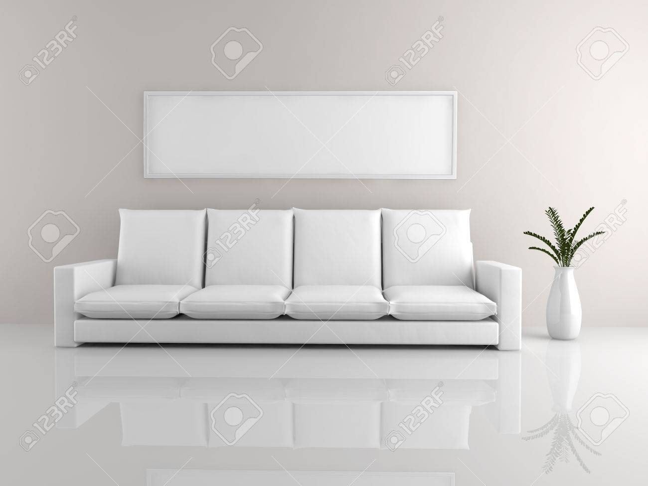 Wondrous A Room With A Minimalist White Sofa And A Picture Frame Unemploymentrelief Wooden Chair Designs For Living Room Unemploymentrelieforg