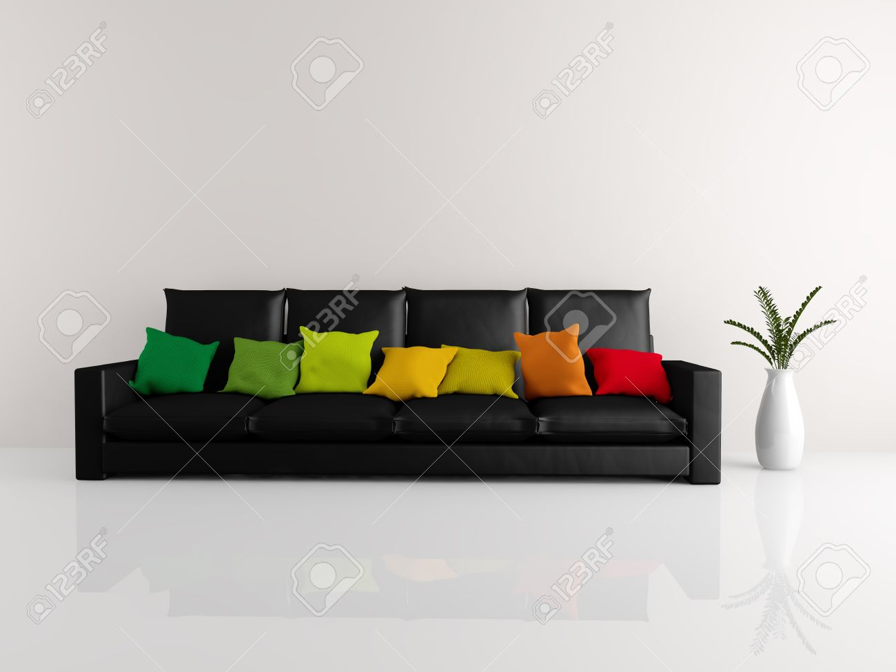 Miraculous A Room With A Minimalist Black Sofa Covered In Colorful Pillows Machost Co Dining Chair Design Ideas Machostcouk