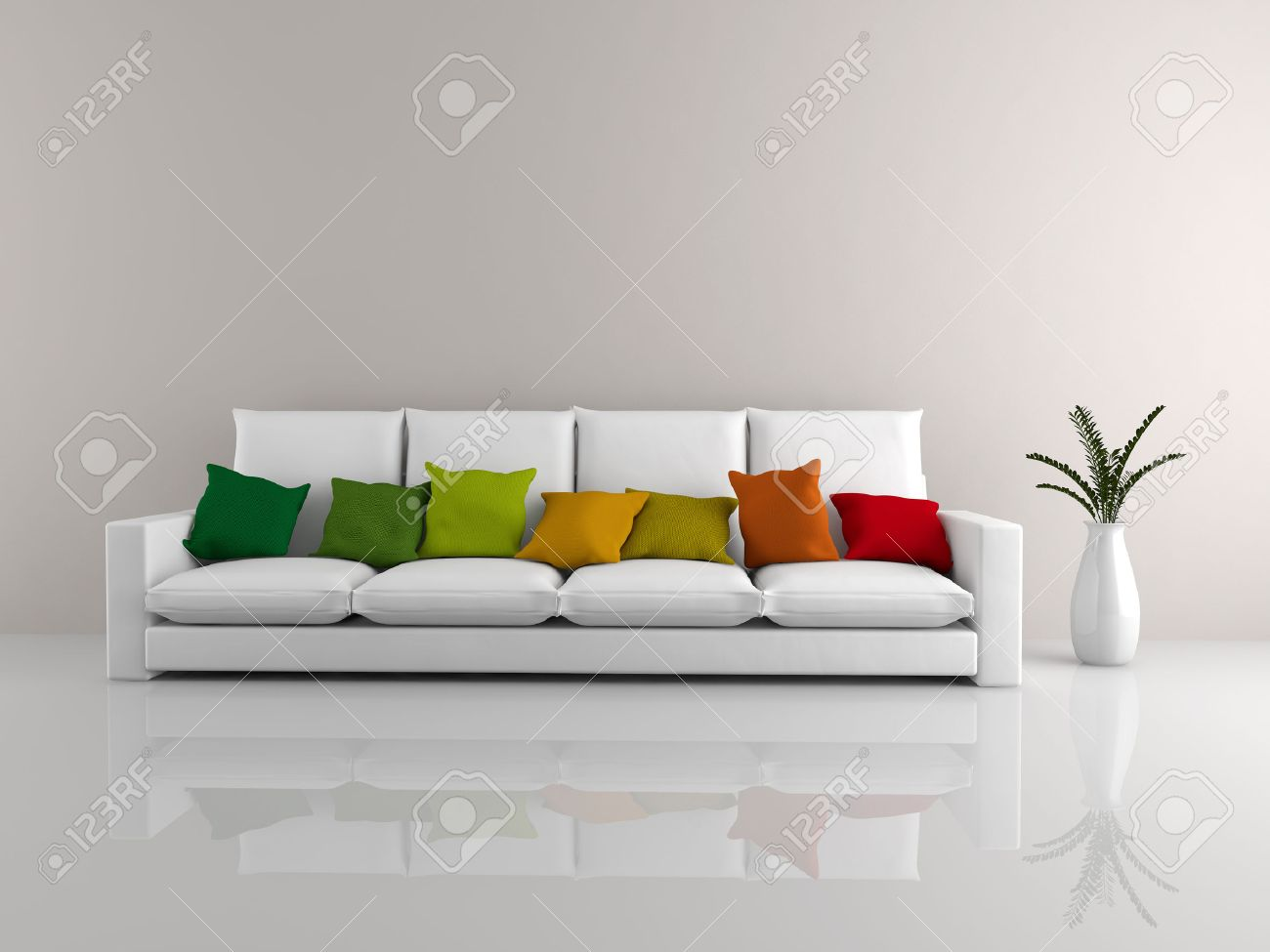 Sensational A Room With A Minimalist White Sofa Covered In Colorful Pillows Unemploymentrelief Wooden Chair Designs For Living Room Unemploymentrelieforg
