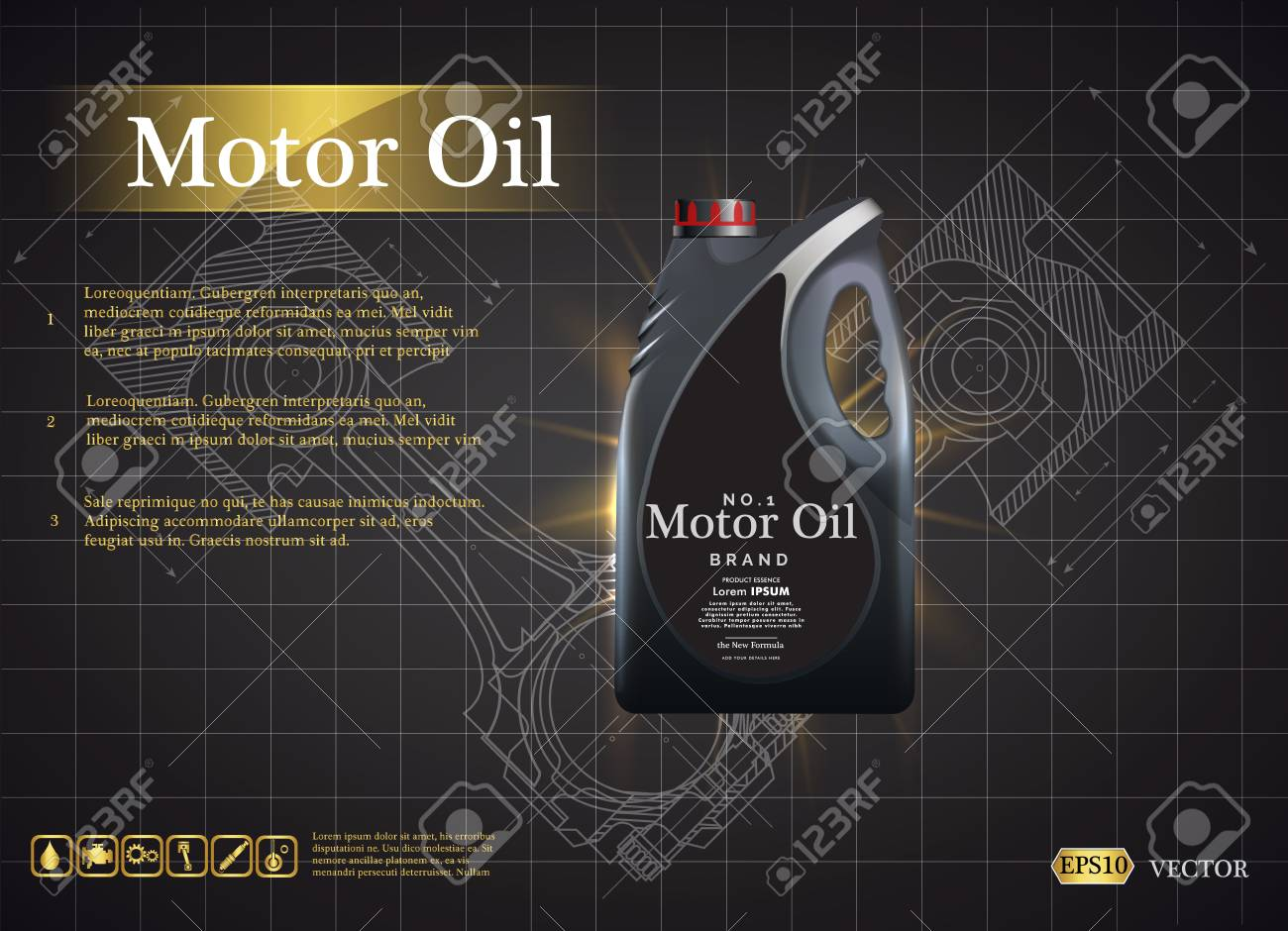 Bottle Engine Oil On A Background A Motor-car Piston, Technical ...