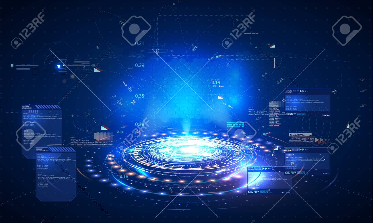 Futuristic hologram, layout for your HUD GUI UI style design. Futuristic Sci-Fi user Interface from out future. Vector - 123992167