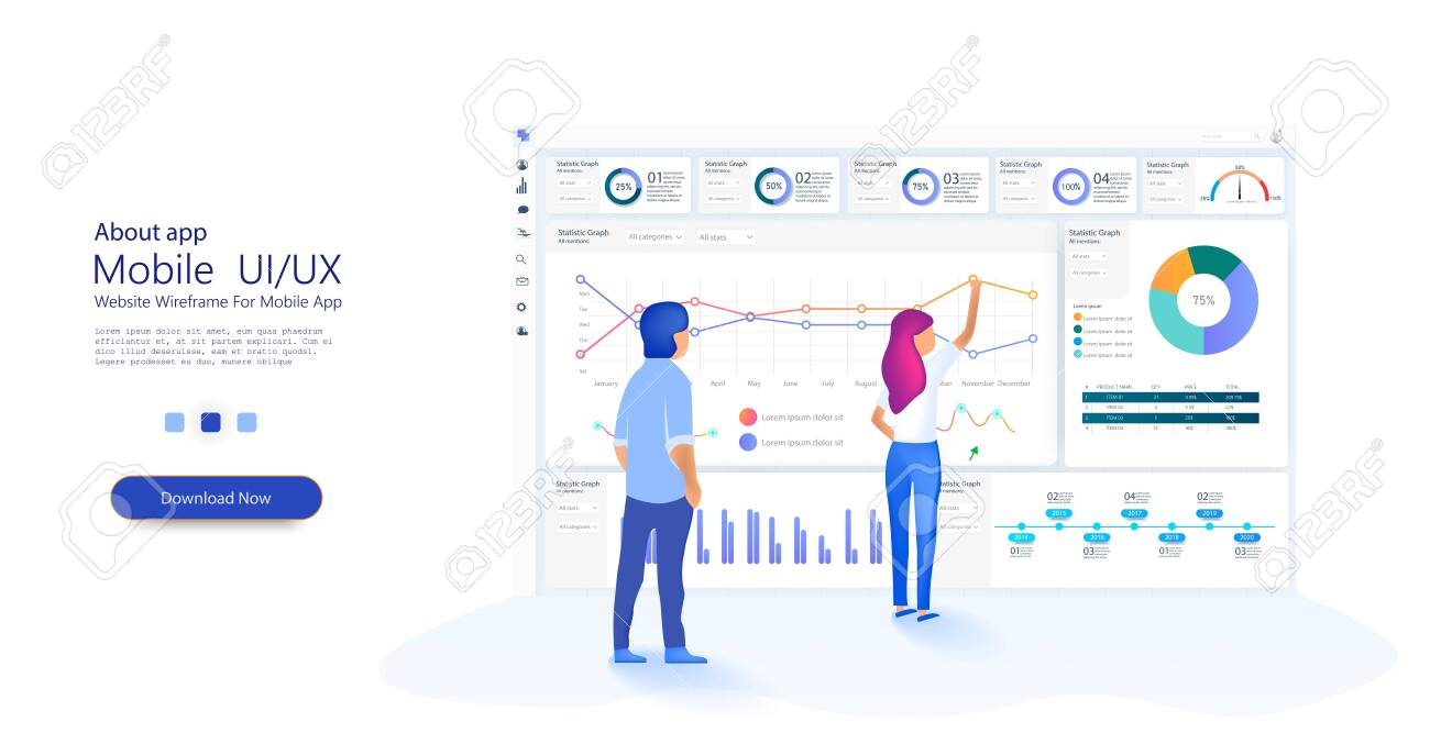 People work in a team and interact with graphs. Business, workflow management. Online statistics and data Analytics. Website template for deep learning concept. Vector - 129498432
