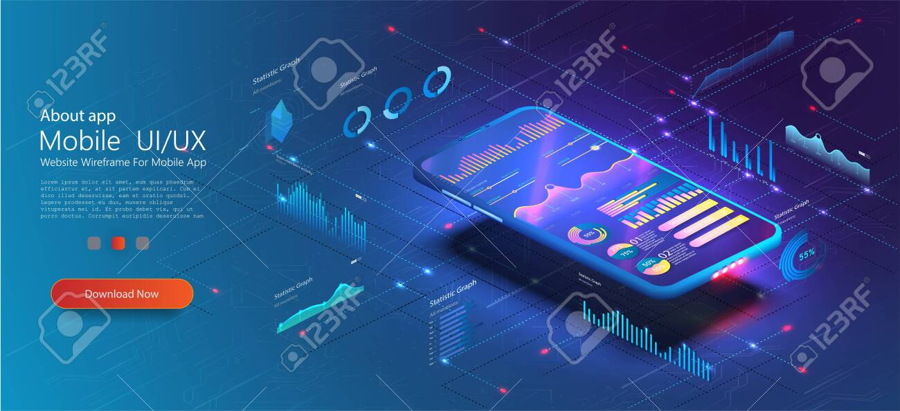 Online statistics and data Analytics UX UI . Digital money market, investment, finance and trading. Analysis trends and financial strategy by using infographic chart. Vector concept illustration - 140510267