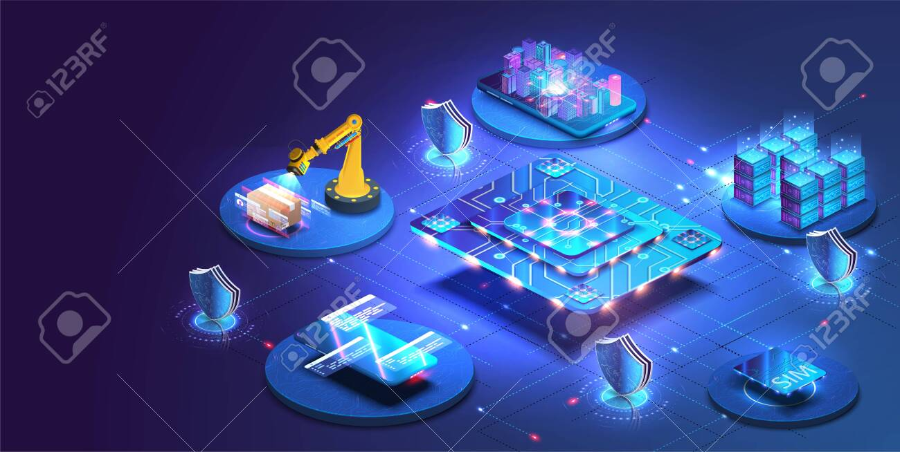 Internet of things abstract blue central processing unit isometric icon in center of background. Creation and optimization of the layout of the site interface. - 143976492