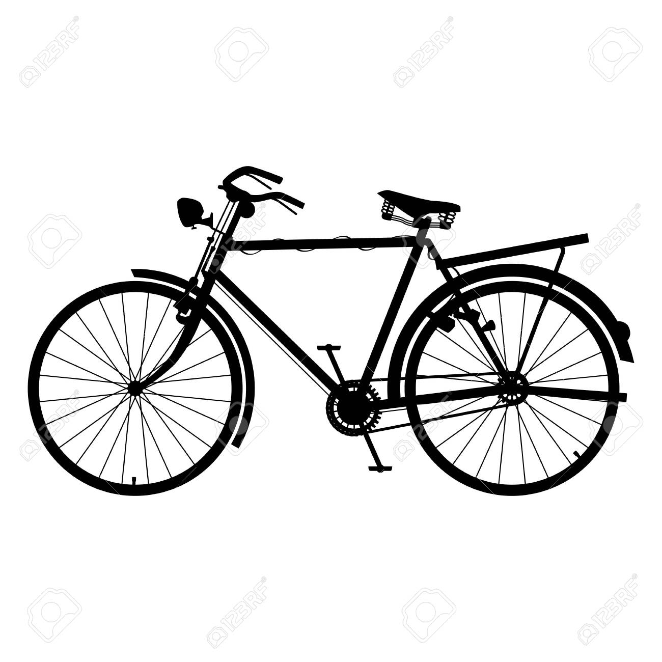 Classic Bicycle Icon Silhouette Detailed Bike Black Color - 154900039