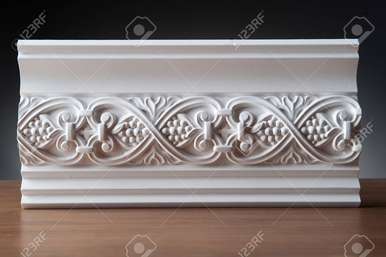 stock photo beautiful elements of luxury wall design white stucco mouldings over dark background antique plastering