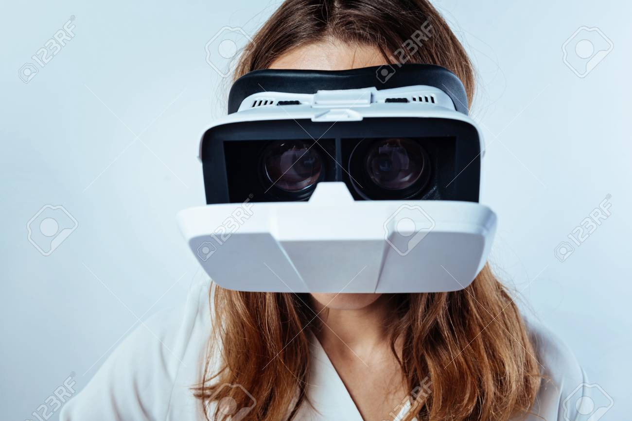 Close up of woman wearing VR headset