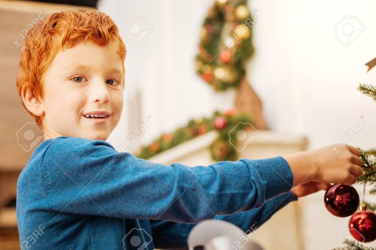 Charming Ginger Kid Enjoying Christmas Preparation Stock Photo ...
