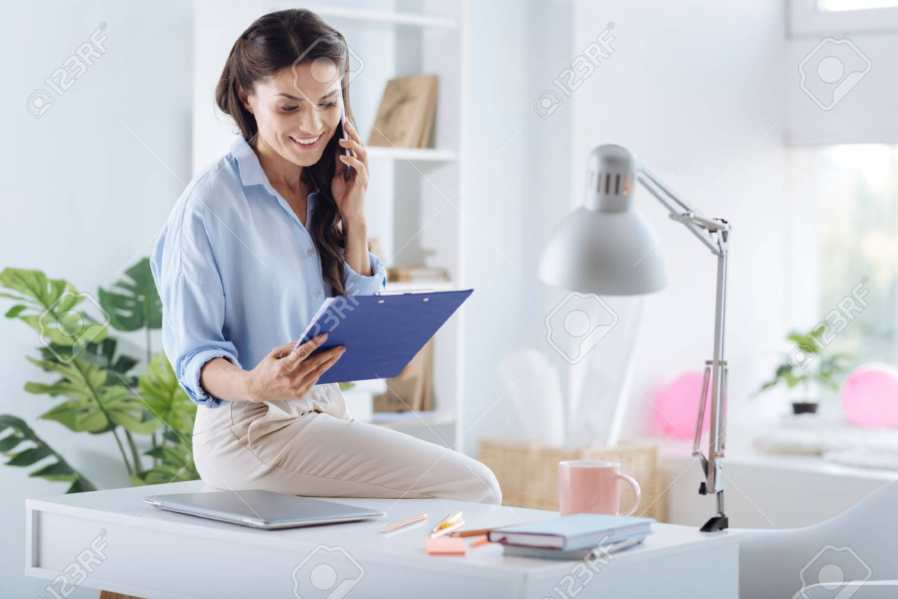 nice person office. Positive Nice Woman Working In The Office Stock Photo - 88564696 Person