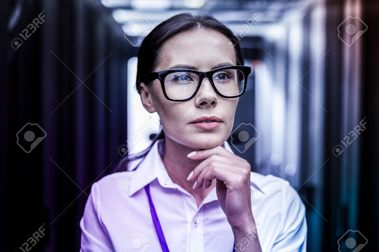 CIA agency  Portrait of an intelligent female CIA agent thinking