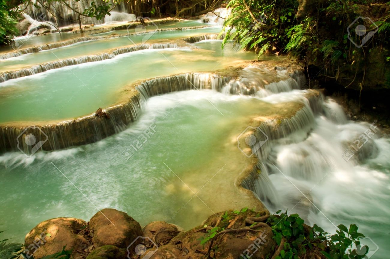 Kuang Si Waterfall, Luang prabang, Laos Stock Photo - 8868102