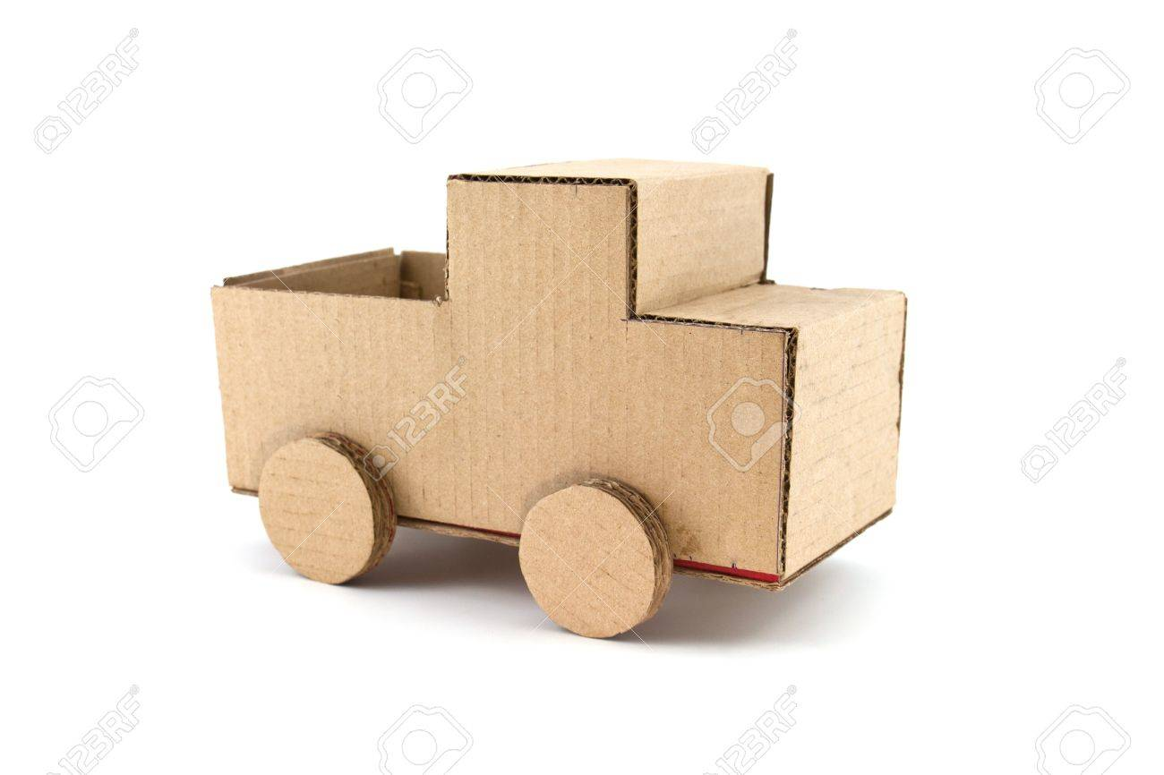 truck model made from Corrugated paper isolated on white background Stock Photo - 9794313