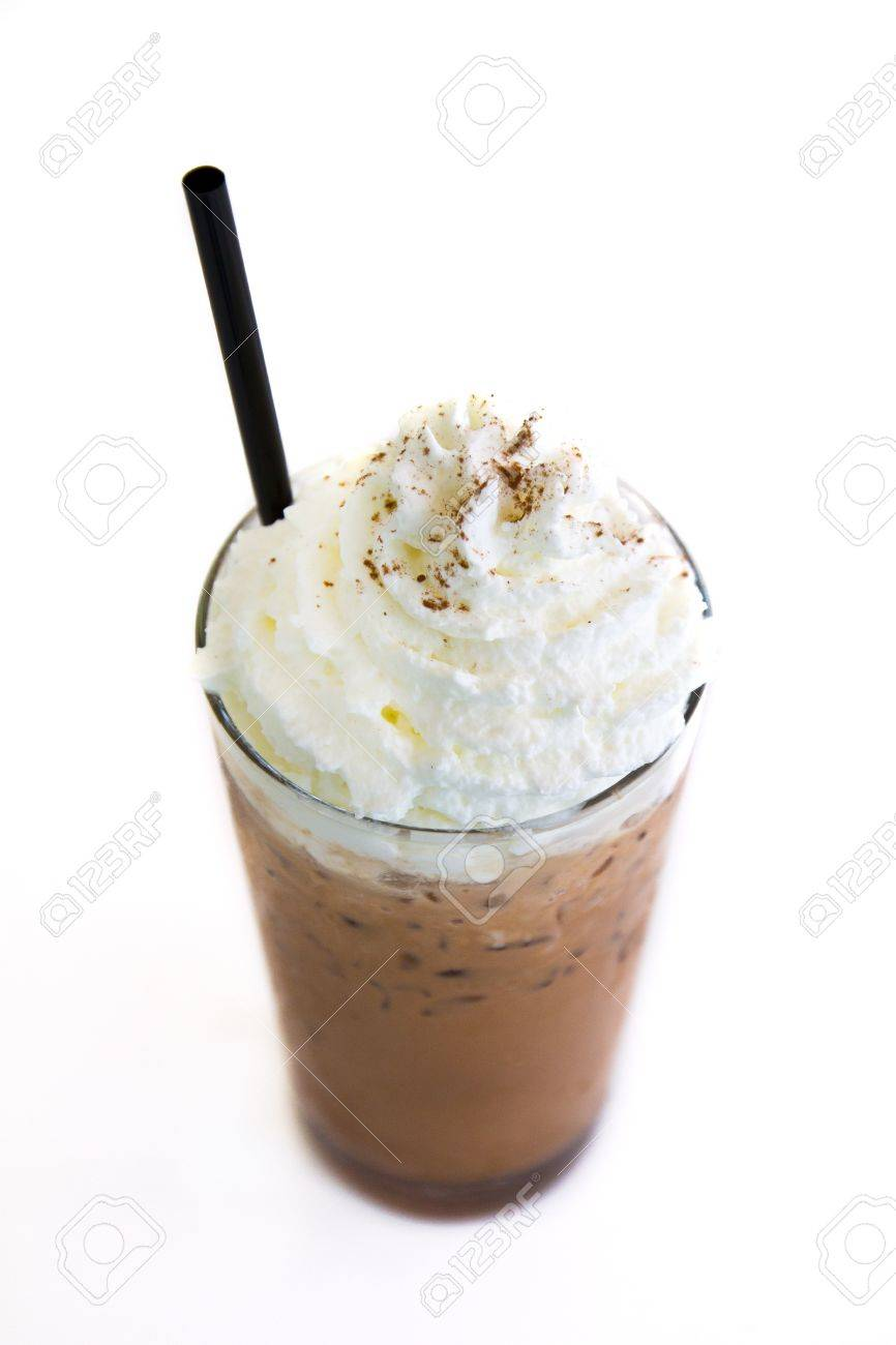 Ice Mocca with whip cream isolated on white background Stock Photo - 13443751