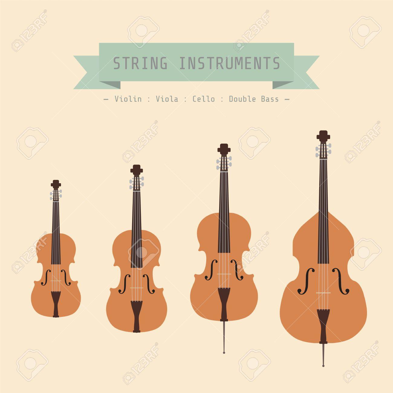 Cuerda De Instrumento Musical Violin Viola Cello Y Contrabajo Estilo Plano