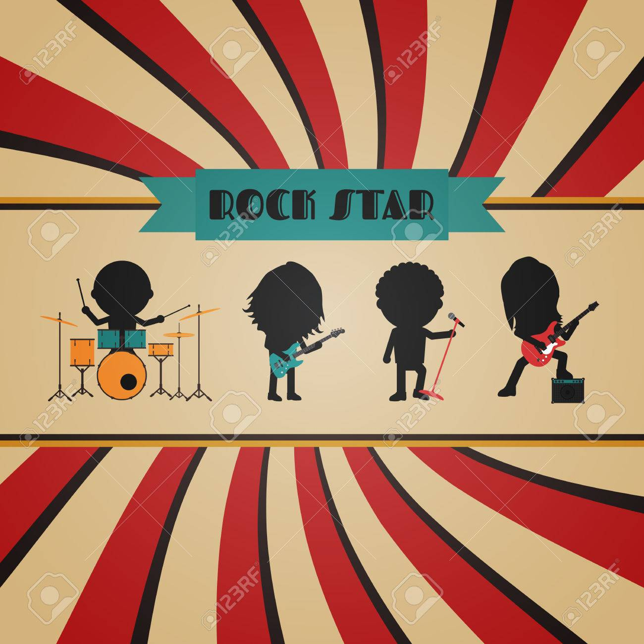 retro rock band poster, vintage style - 51556412