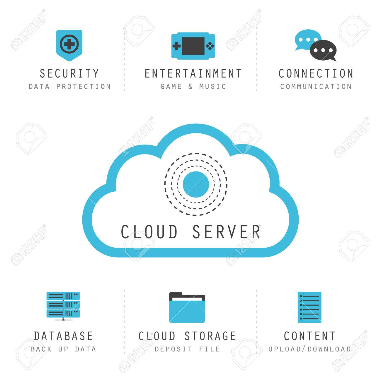 isolated cloud computing infographic cloud server icon royalty free