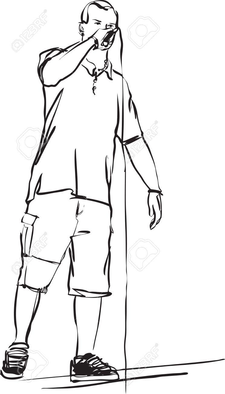 un dibujo en blanco y negro de la cantante de rap Foto de archivo - 9934073