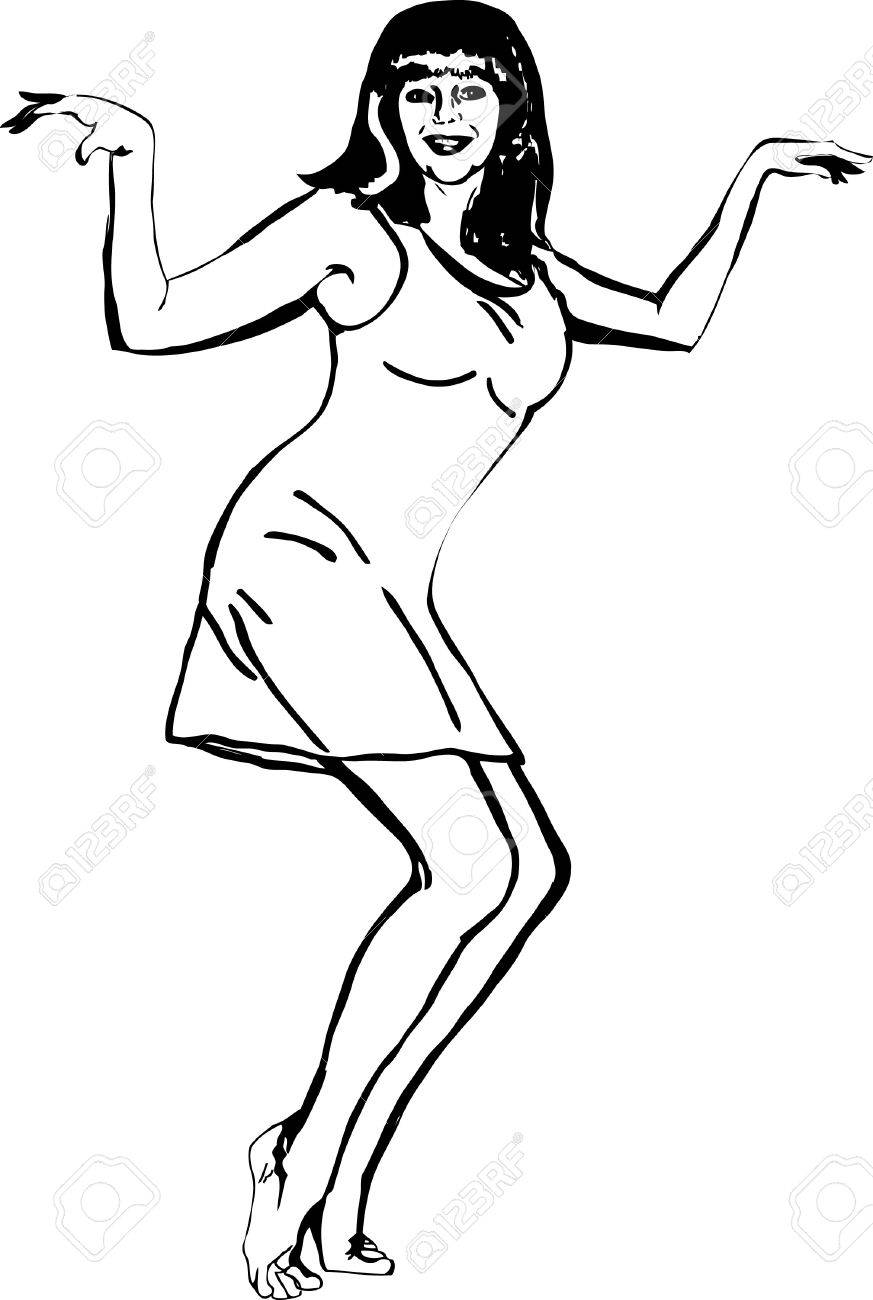 black and white image of a beautiful girl dancing Stock Vector - 10012568