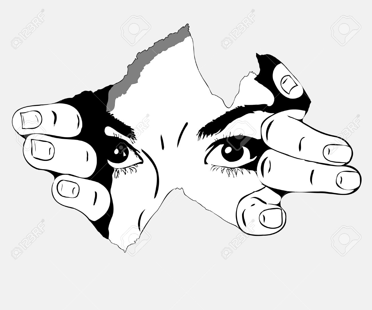black and white picture woman eyes from the hole Stock Vector - 10012828