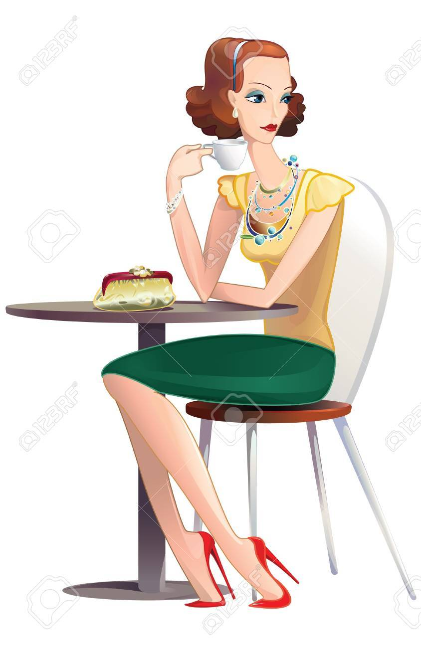a pretty young woman drinking tea at a table in a Stock Vector - 10224954