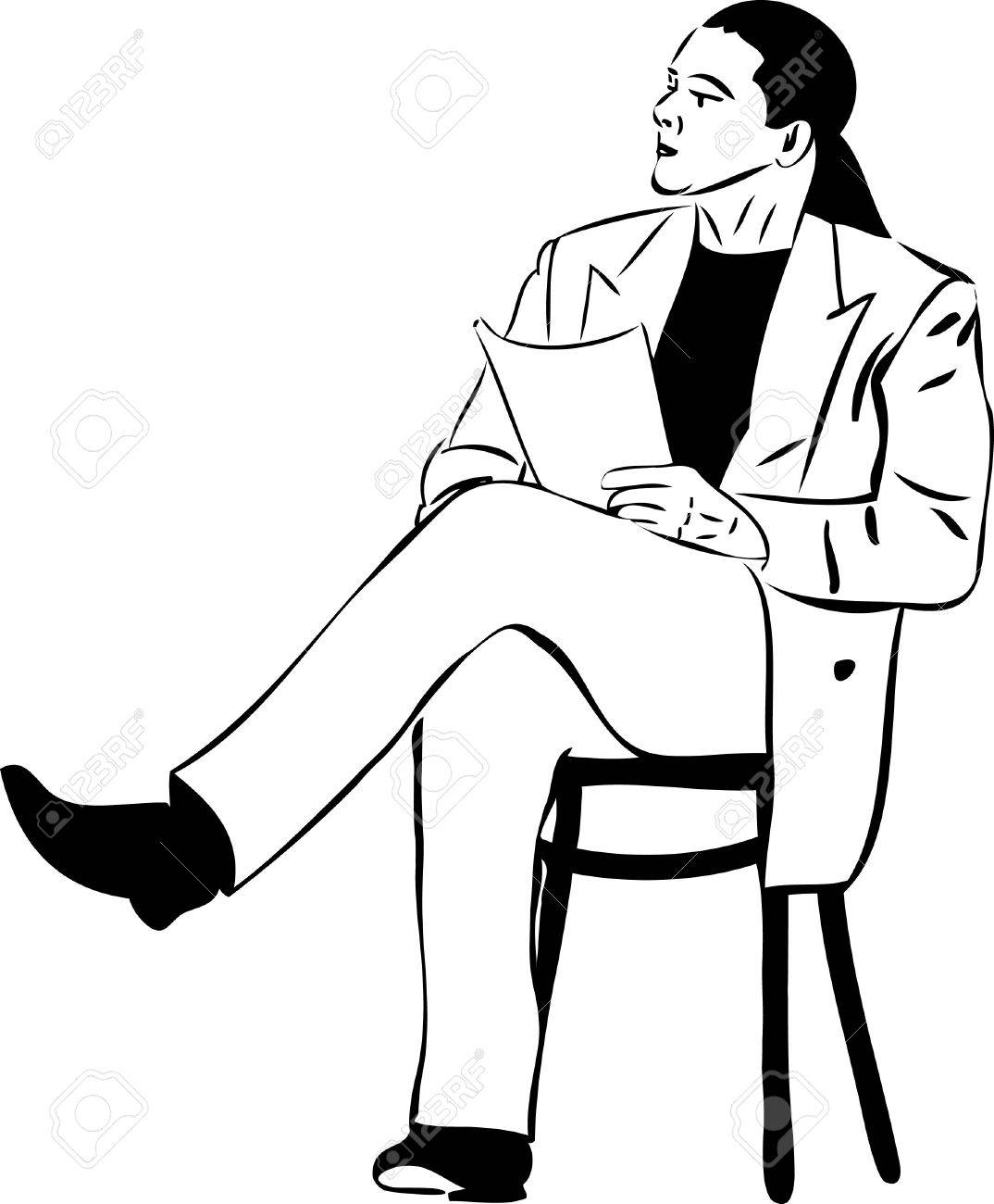 Man That Is Reading While Sitting On A Wooden Chair Royalty Free