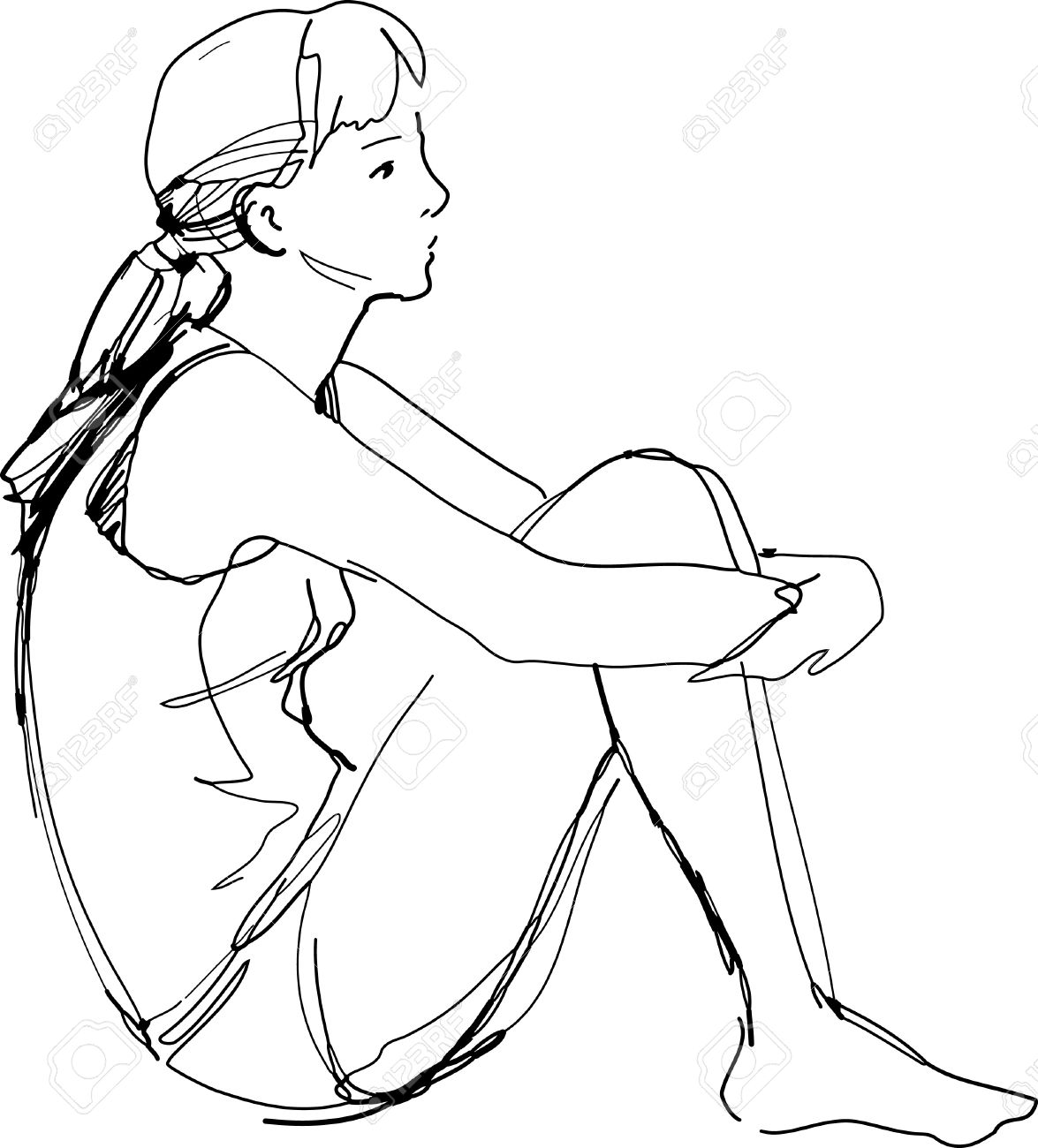 a sketch of a girl sitting hugging her knees Stock Vector - 10390249