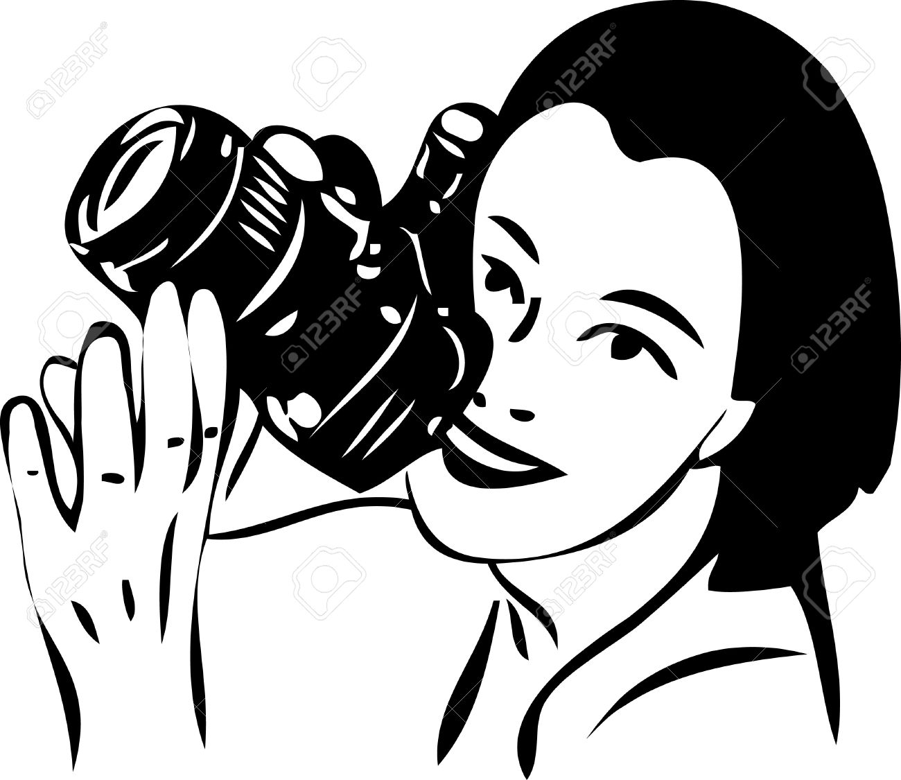 a sketch of a girl with a camera in hand Stock Vector - 10439401