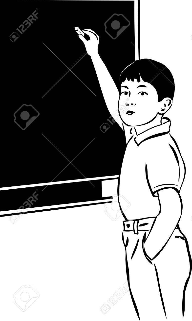 A sketch of a boy with a blackboard chalk stock vector 10630450