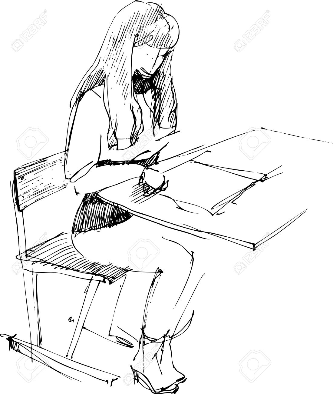 girl after a school desk Stock Vector - 10681094