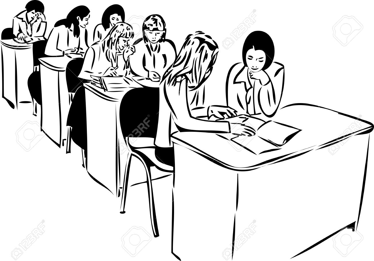 sketch of the girls in the audience sitting at the table Stock Vector - 10718396