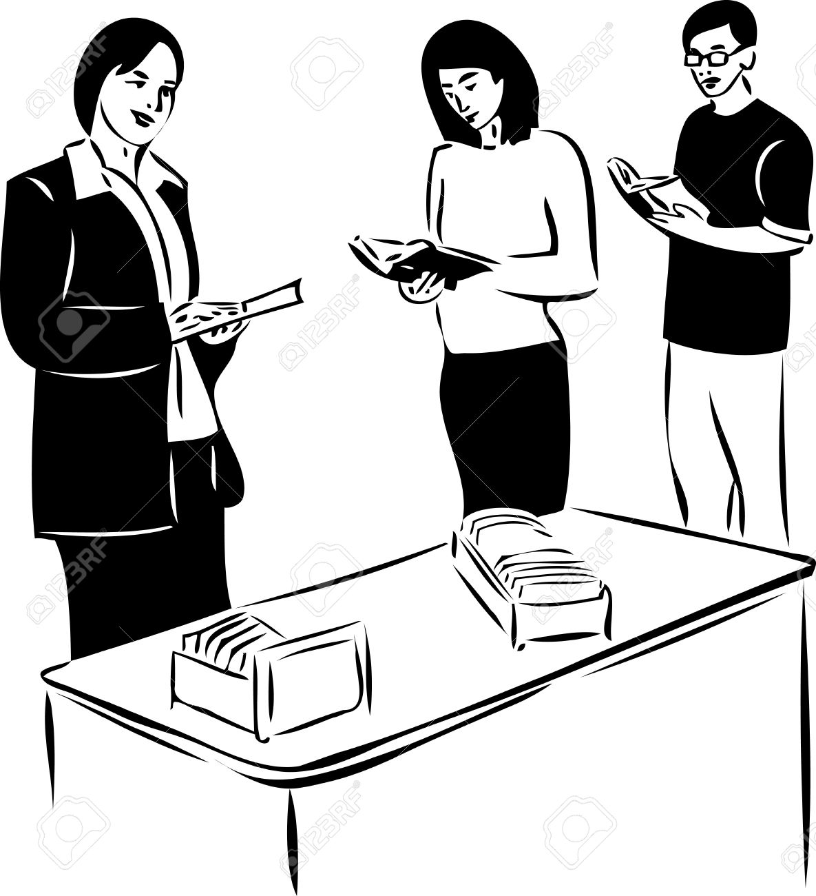 sketch of two girls and boy reading Stock Vector - 10832134