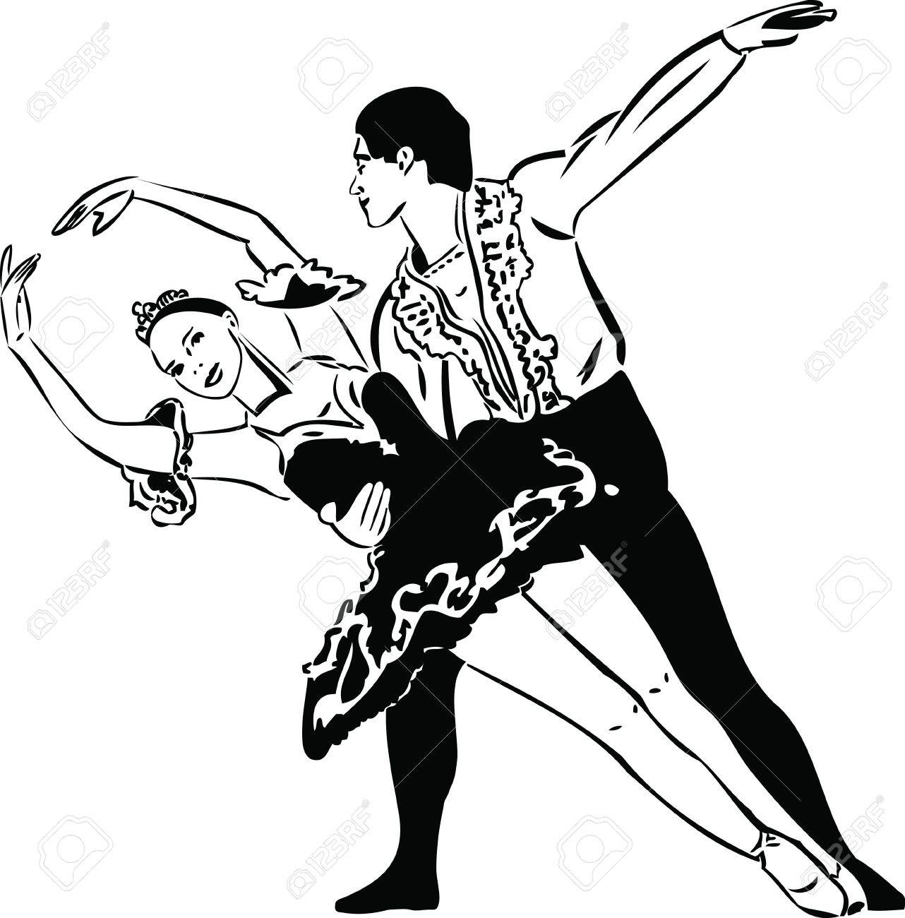 black and white sketch ballet dancing couples Stock Vector - 10873785