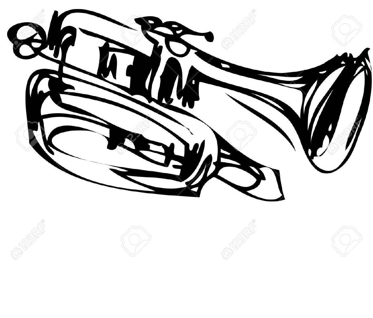 a sketch of copper Cornet Musical Instrument Stock Vector - 11119036