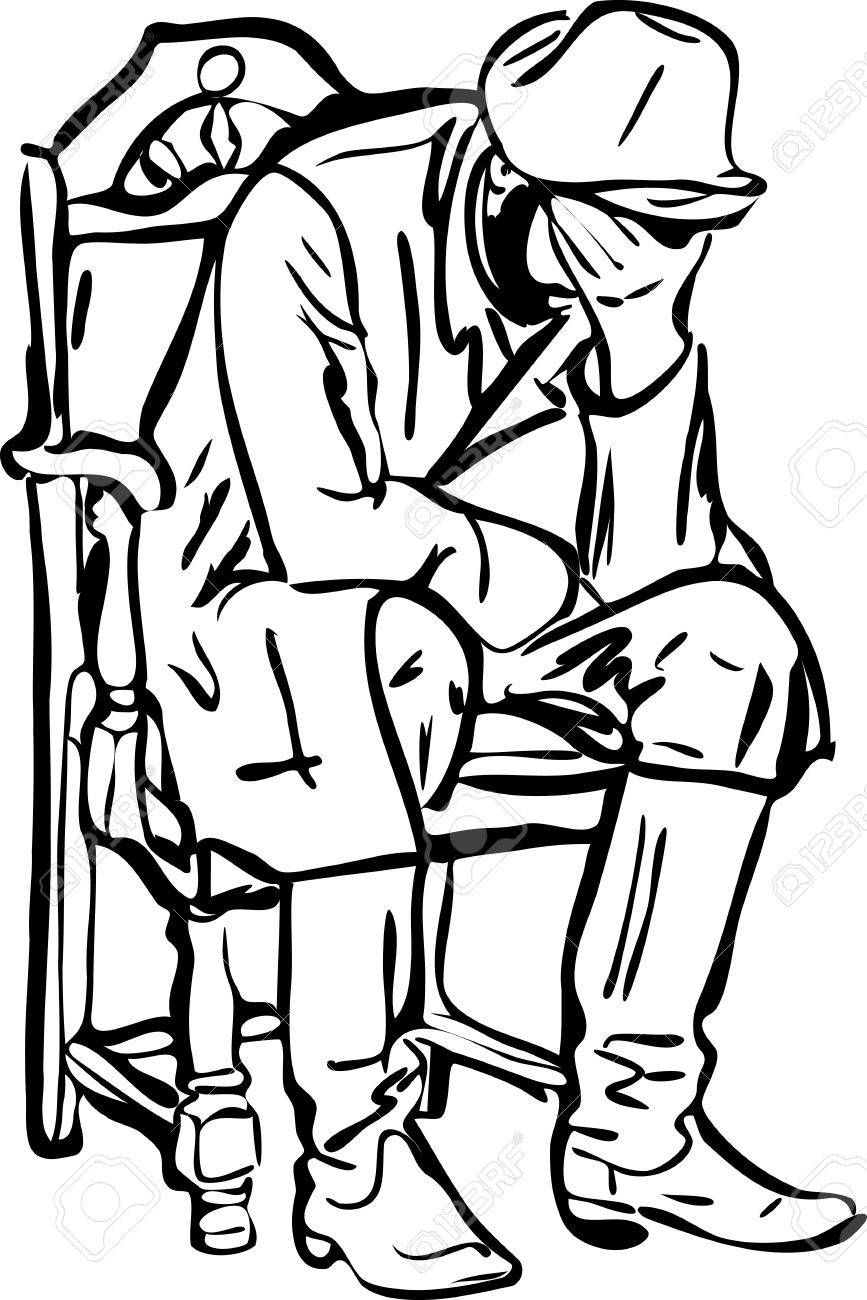 Man sitting in chair drawing - Sketch Of A Man In Boots Sitting And Sleeping In A Chair Stock Vector 11177197