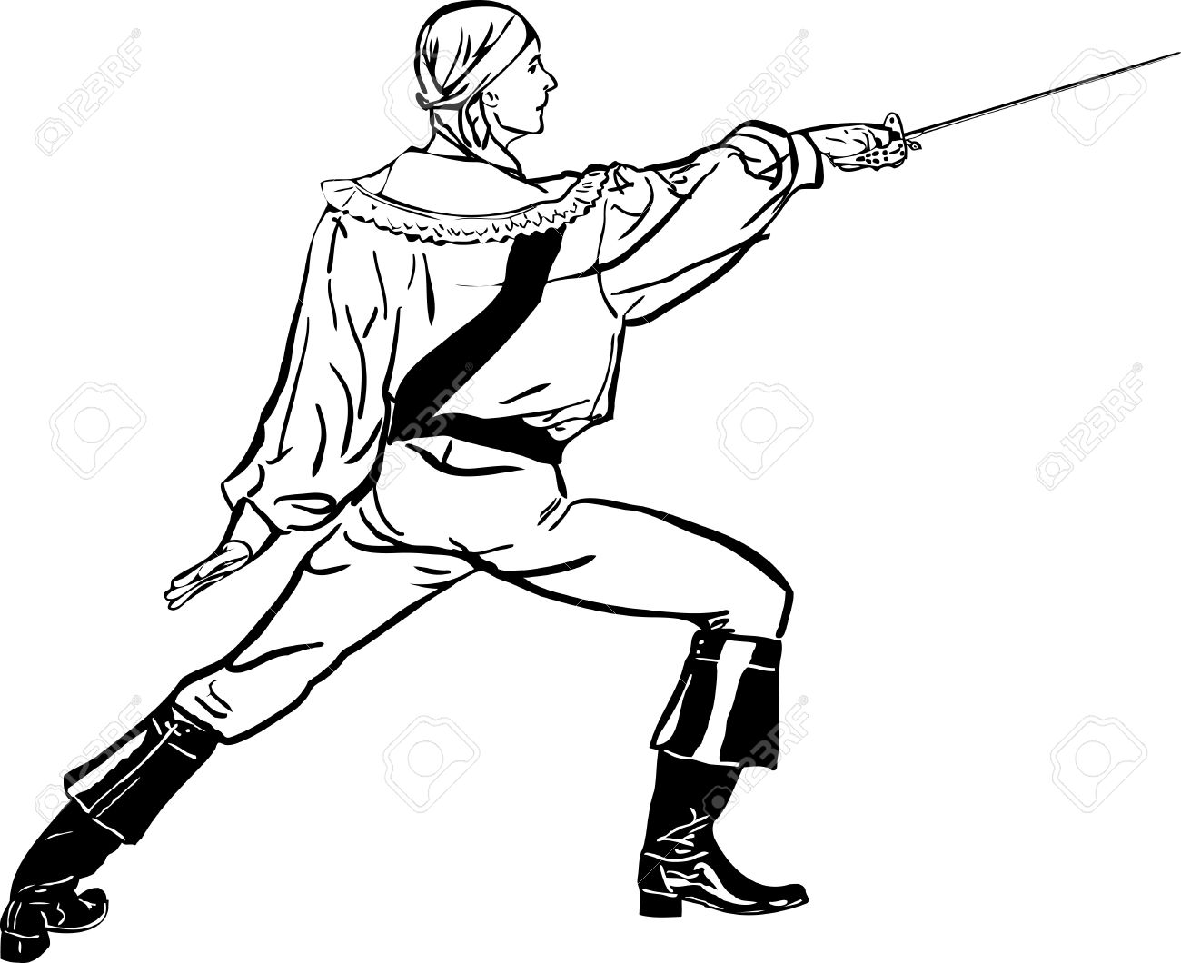 sketch a fencer with a sword lunges forward Stock Vector - 13057008