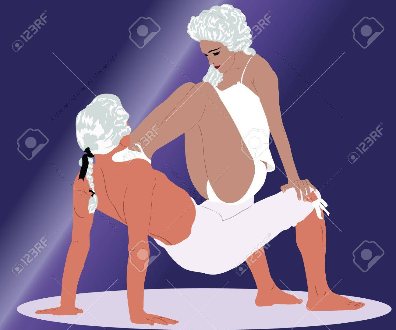 dancing couple in white wigs Stock Vector - 13164518